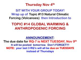 Thursday Nov 4 th
