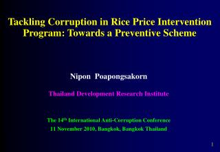 Tackling Corruption in Rice Price Intervention Program: Towards a Preventive Scheme