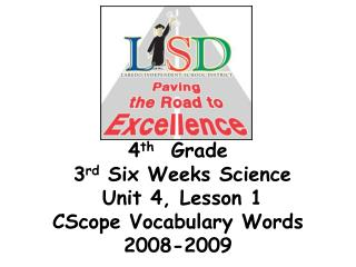 4 th   Grade   3 rd  Six Weeks Science  Unit 4, Lesson 1  CScope Vocabulary Words 2008-2009