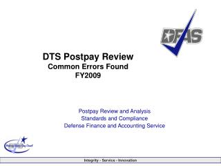 DTS Postpay Review Common Errors Found FY2009