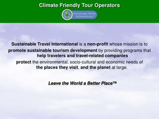 Climate Friendly Tour Operators