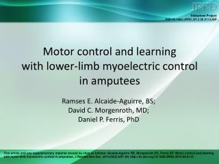 Motor control and learning  with lower-limb myoelectric control  in amputees