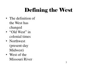 Defining the West