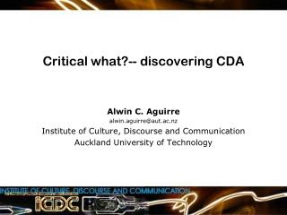 Critical what?-- discovering CDA
