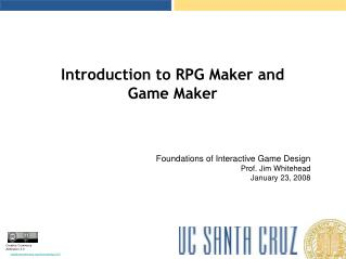 Introduction to RPG Maker and  Game Maker