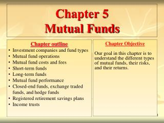Chapter 5 Mutual Funds