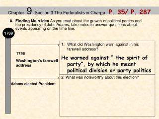 Chapter  9  Section 3 The Federalists in Charge    P. 35/ P. 287