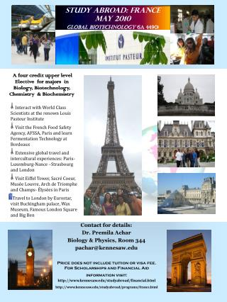 Study Abroad: France May 2010 Global Biotechnology  (SA 4490)