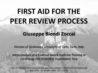 FIRST AID FOR THE PEER REVIEW PROCESS