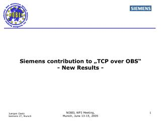 "Siemens contribution to ""TCP over OBS"" - New Results -"