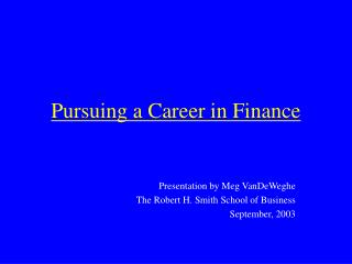 Pursuing a Career in Finance
