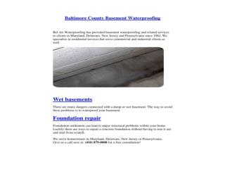 Baltimore County Basement Waterproofing