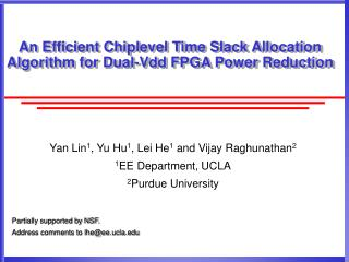 An Efficient Chiplevel Time Slack Allocation Algorithm for Dual-Vdd FPGA Power Reduction