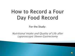 How to Record a Four Day Food Record