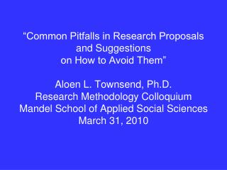 This presentation is intended to help you write stronger research grant applications