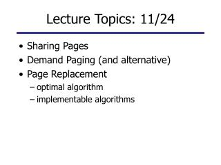 Lecture Topics: 11/24