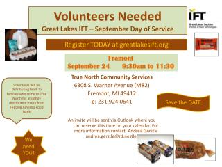 Volunteers Needed Great Lakes IFT – September Day of Service