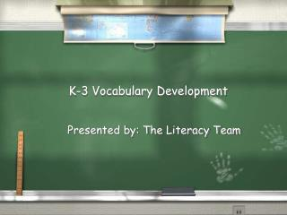 K-3 Vocabulary Development