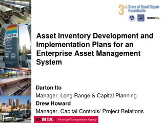 Asset Inventory Development and Implementation Plans for an Enterprise Asset Management System
