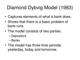 Diamond Dybvig Model (1983)