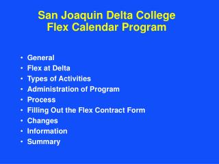 San Joaquin Delta College Flex Calendar Program