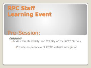 RPC Staff  Learning Event Pre-Session: