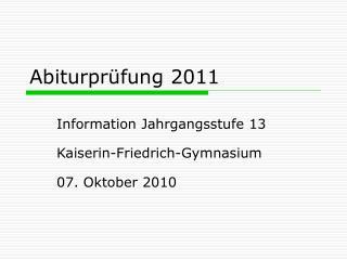 Abiturprüfung 2011