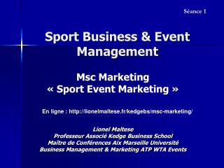 Sport Business & Event Management