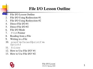 File I/O Lesson Outline