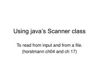 Using java's Scanner class