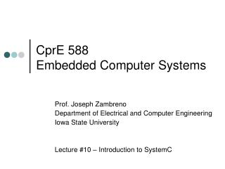 CprE 588 Embedded Computer Systems
