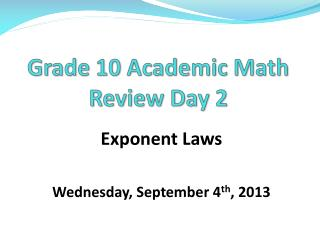 Grade 10 Academic Math Review Day 2