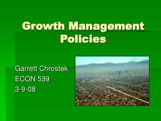 Growth Management Policies