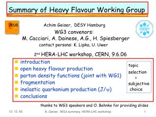 Summary of Heavy Flavour Working Group
