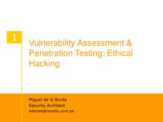 Vulnerability Assessment & Penetration Testing: Ethical Hacking