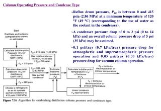Column Operating Pressure and Condense Type