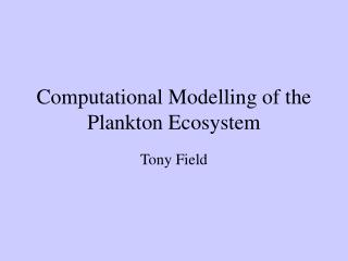 Computational Modelling of the Plankton Ecosystem