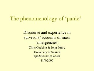 The phenomenology of 'panic'