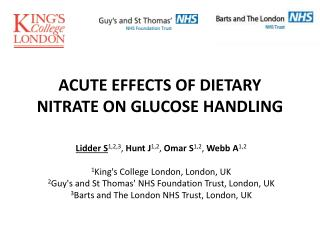 ACUTE EFFECTS OF DIETARY NITRATE ON GLUCOSE HANDLING