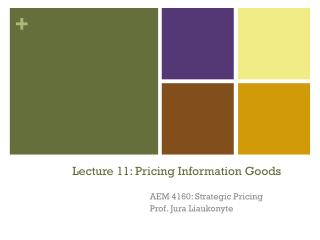 Lecture 11: Pricing Information Goods