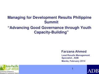 Managing for Development Results Philippine Summit