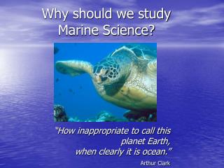 Why should we study  Marine Science?