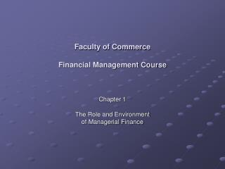 Faculty of Commerce Financial Management Course