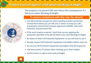 Protect yourself against a fall when working at height