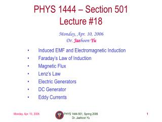 PHYS 1444 – Section 501 Lecture #18