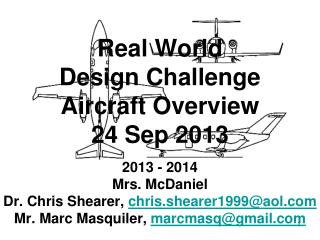 Real World Design Challenge Aircraft Overview 24 Sep 2013