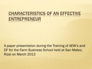 Characteristics of an Effective Entrepreneur
