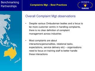 Complaints Mgt – Best Practices