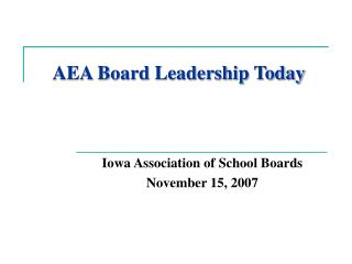 AEA Board Leadership Today