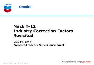 May 11, 2012 Presented to Mack Surveillance Panel